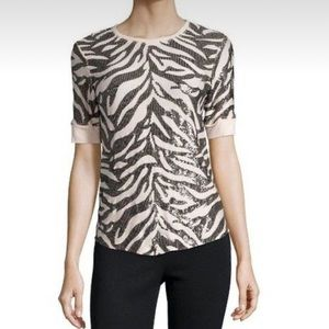 Rebecca Taylor shortsleeved sequin zebra print blush and black top size small